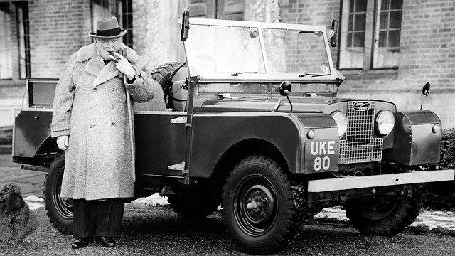 Iconic image of Winston Churchill