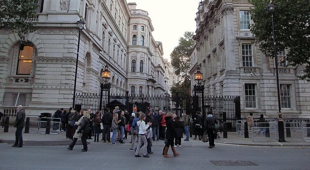 The gates leading to Downing Street