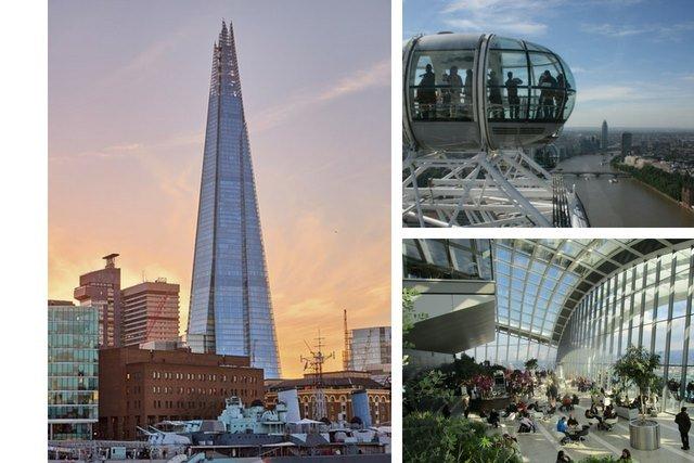Left: The Shard. Top right: The London Eye. Bottom Right: Sky Garden